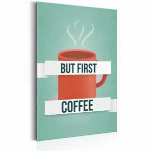 Plakat metalowy - Coffee Lovers: But first Coffee [Allplate]