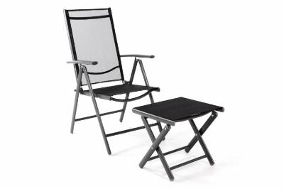 Krzesło Ogrodowe Składane Z Podnóżkiem Leżak Z Regulowanym Oparciem