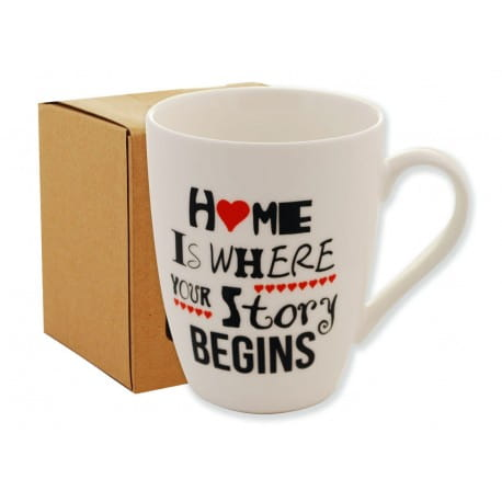 KUBEK Z NAPISEM 350ML EKO BOX HOME IS WHERE YOUR STORY BEGINS