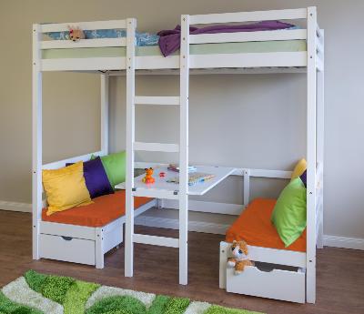 łóżko Piętrowe Dla Dzieci Z Biurkiem I Poduszkami