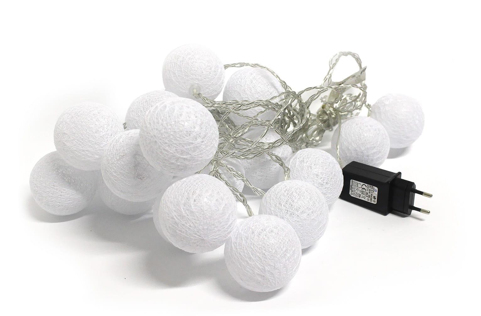 Lampki Kule 20 Led Cotton Balls Ciepłe Białe