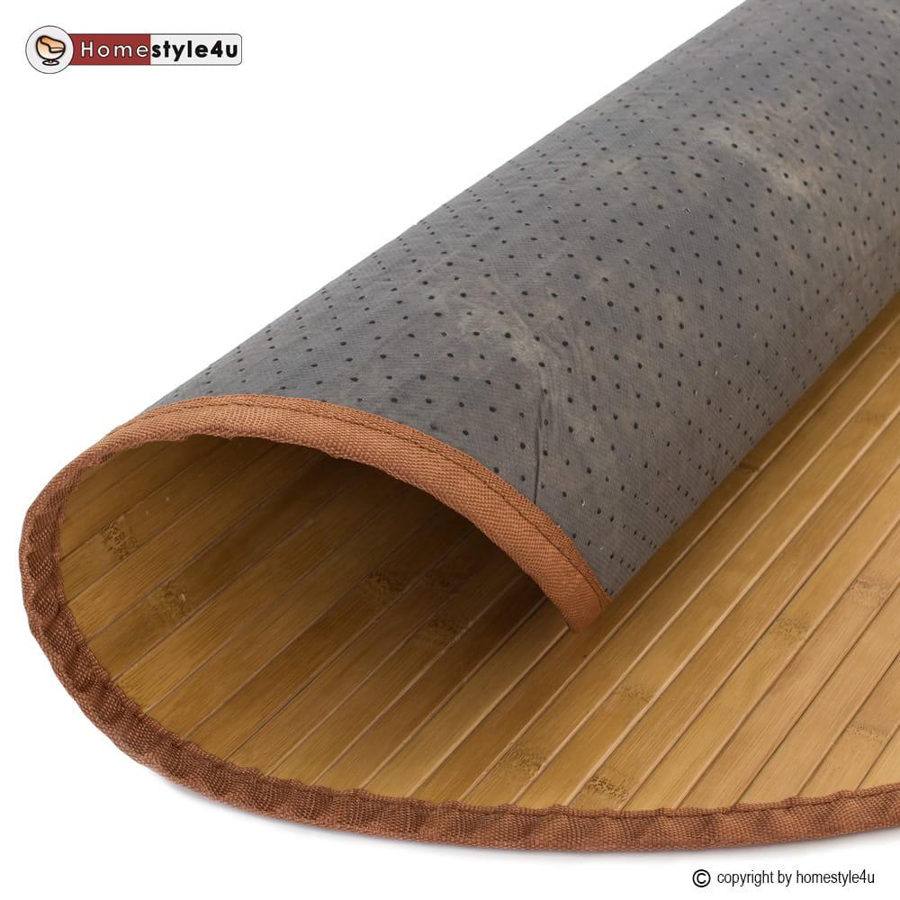 Mata Bambusowa Okrągła Dywanik Bambusowy 90 Cm Brązowy