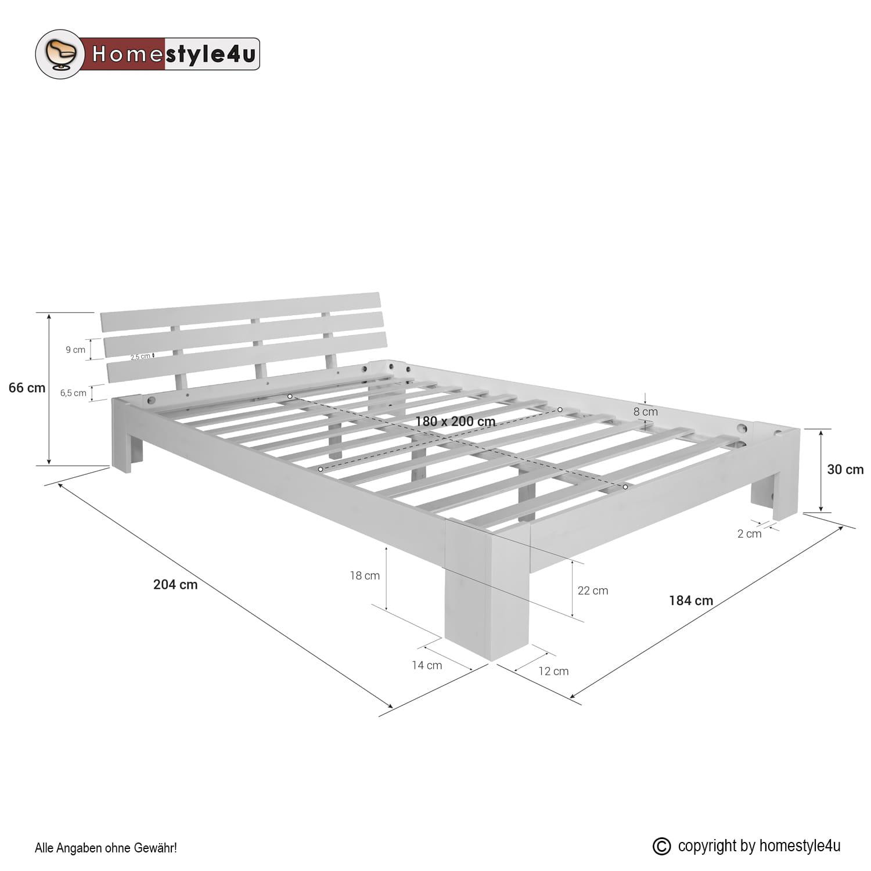 łóżko Drewniane Podwójne 180x200 Cm Białe