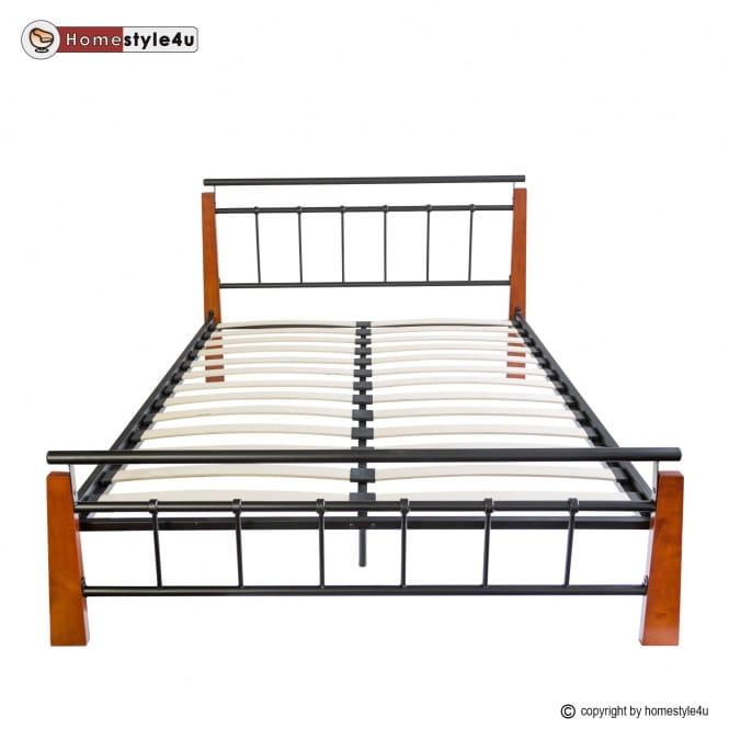 łóżko Metalowe Podwójne 180 X 200 Cm Stelaż