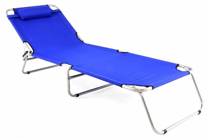 łóżko Polowe Składane Z Regulowanym Oparciem Niebieski