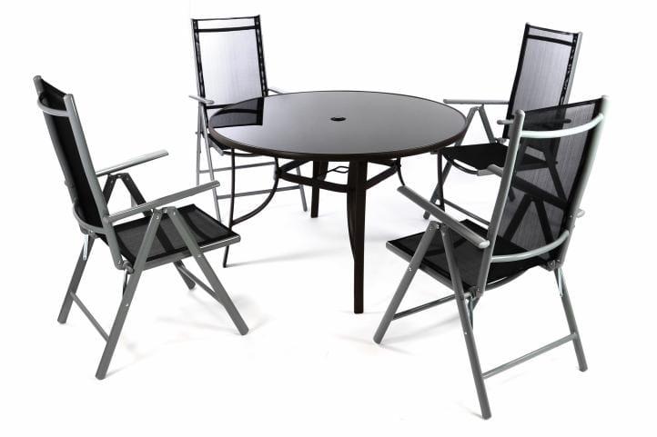 Stół Okrągły Szklany Czarny 4 Krzesła