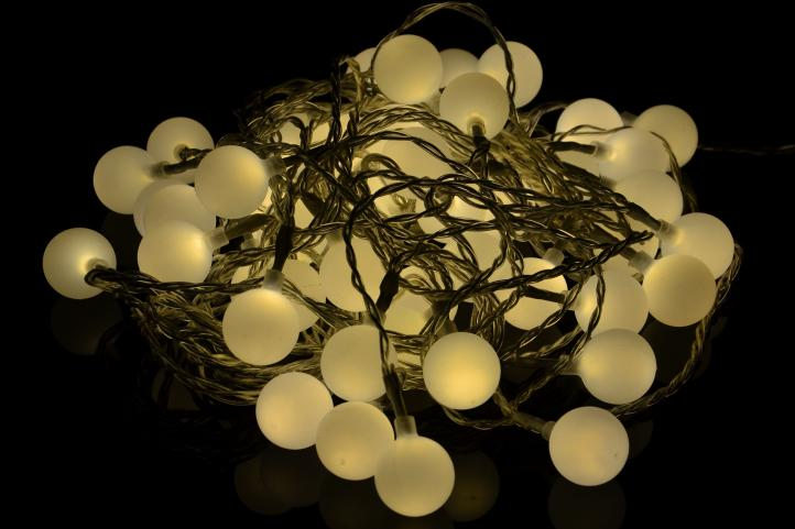 Lampki Oświetlenie Dekoracyjne Do Domu Ogrodu 50 Led Ciepłe Białe Matowe