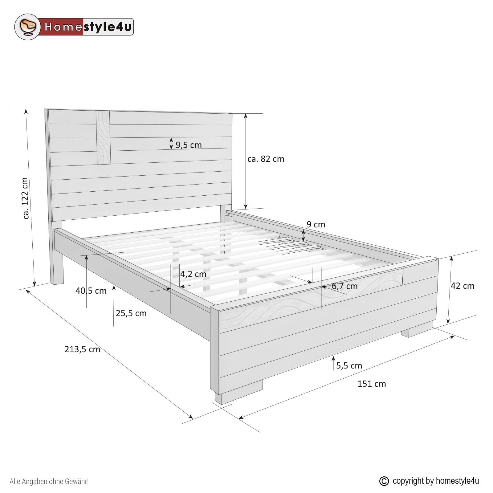 łóżko Drewniane Podwójne 140 X 200 Szare