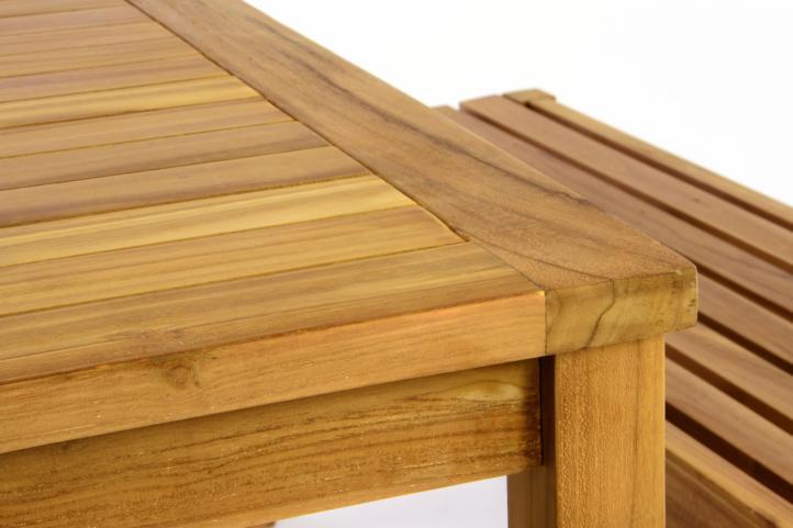 Komplet Mebli Ogrodowych Stół 2 ławki Z Drewna Tekowego Divero