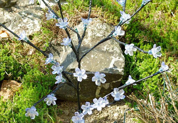 Lampki Solarne 36 Led Ciepłe Białe Drzewko Z Kwiatkami