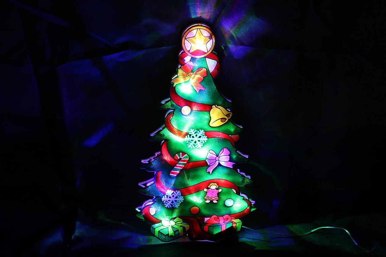 Witraż Witrażyk Na Okno Ledowy Lampki świąteczne Choinka 45 Cm Led