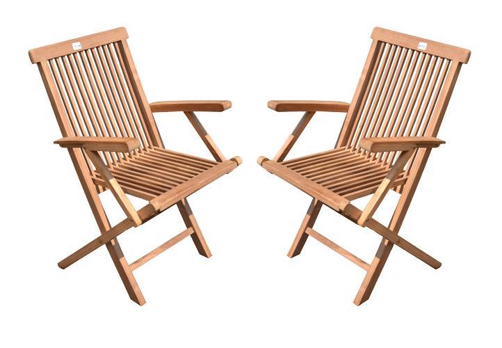 Krzesła Zestaw 2 Szt Składane Krzesło Ogrodowe Z Drewna Tekowego