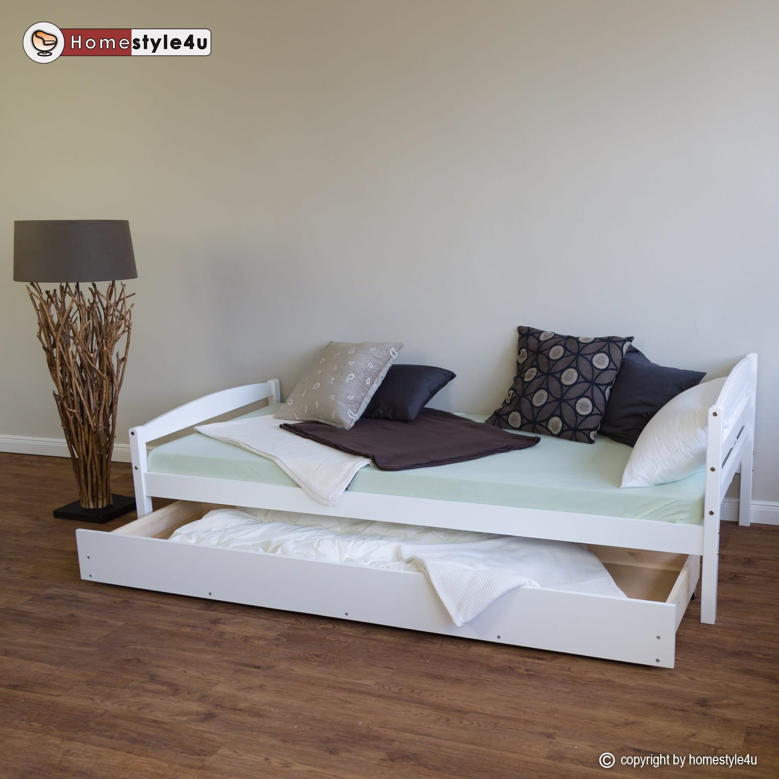 łóżko Młodzieżowe 90x200 Cm Rozsuwane Białe