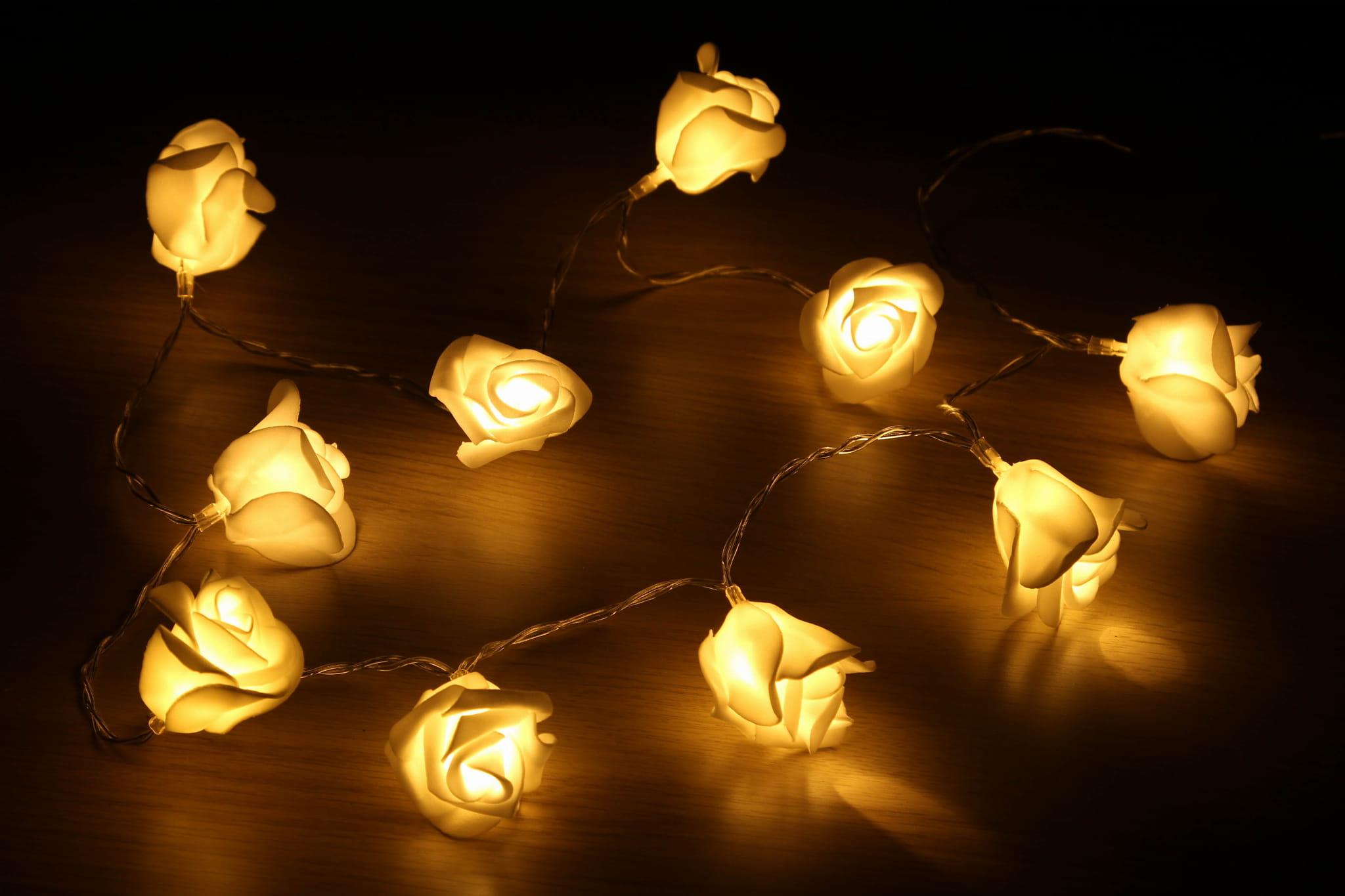 Różyczki świecące łańcuch Lampek Led 10 Diod Led Na Baterie