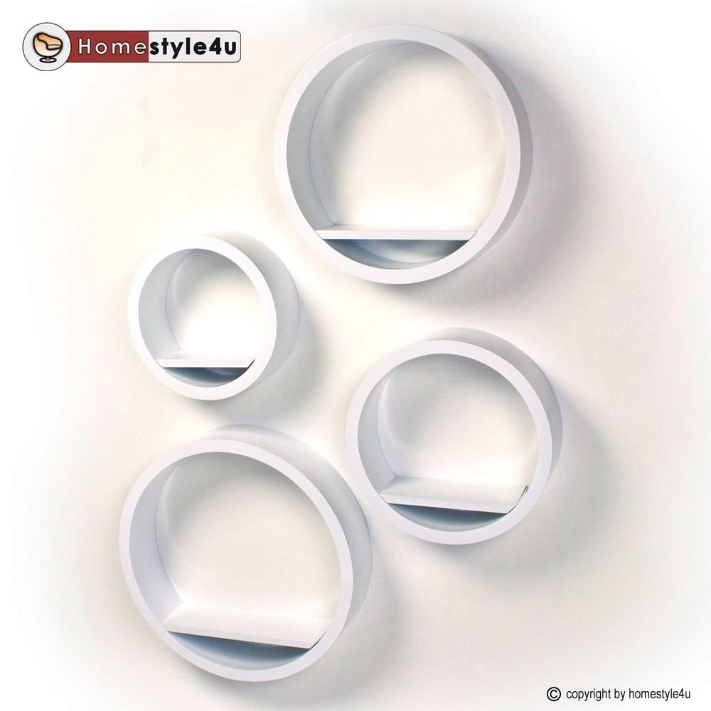 Półki Okrągłe Retro Białe 4 Sztuki