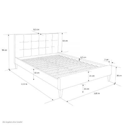 łóżko Tapicerowane Dwuosobowe 140 X 200 Cm Szare