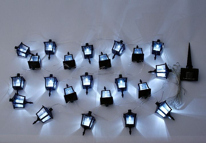 Lampki Solarne W Kształcie Latarni 24 Sztuki Oświetlenie Ogrodowe