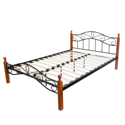 łóżko Metalowe Podwójne 160 X 200 Cm Stelaż