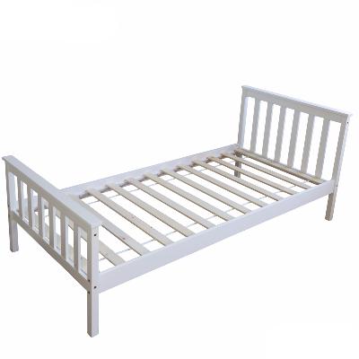 łóżko Drewniane Pojedyncze 90 X 200 Cm Białe
