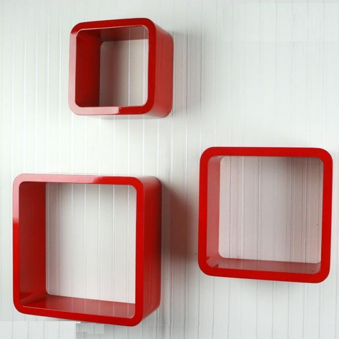 Półki Retro Cube 3szt Czerwone