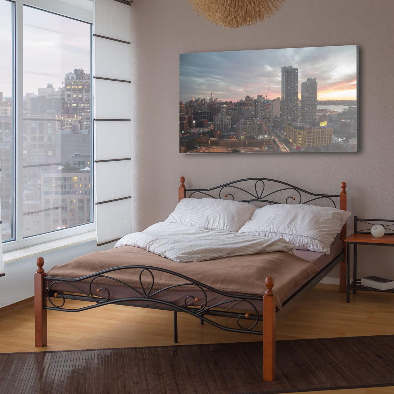 łóżko Metalowe Podwójne 140 X 200 Cm Stelaż