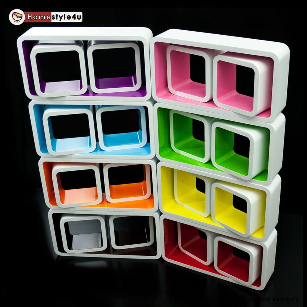 Półki Wiszące Cube 3 Szt Biało Pomarańczowe