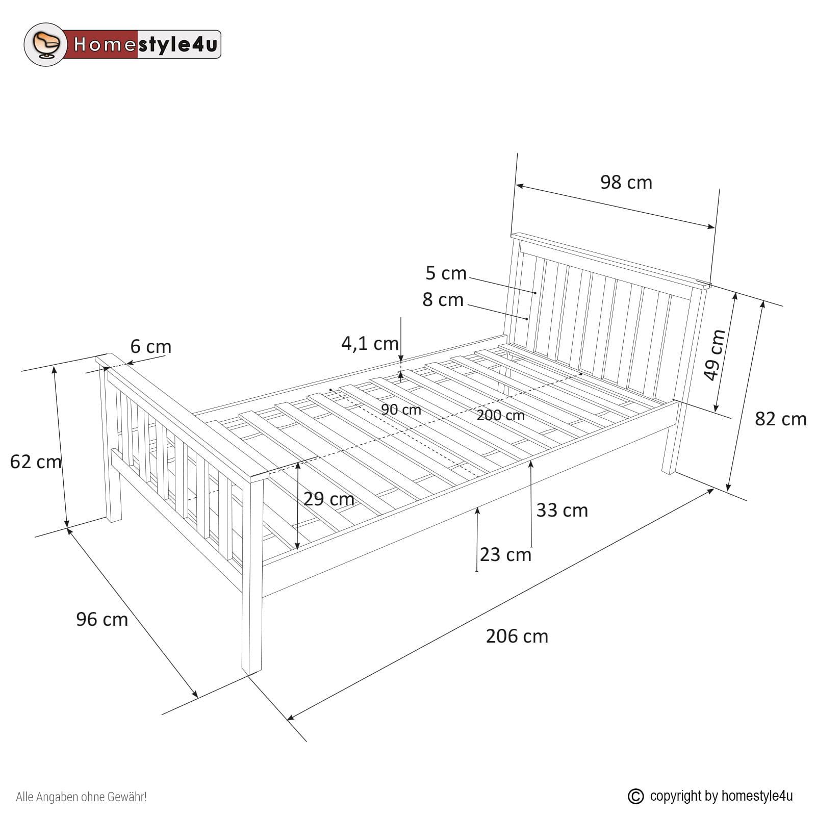 łóżko Młodzieżowe Pojedyncze Drewniane 90 X 200 Cm Białe