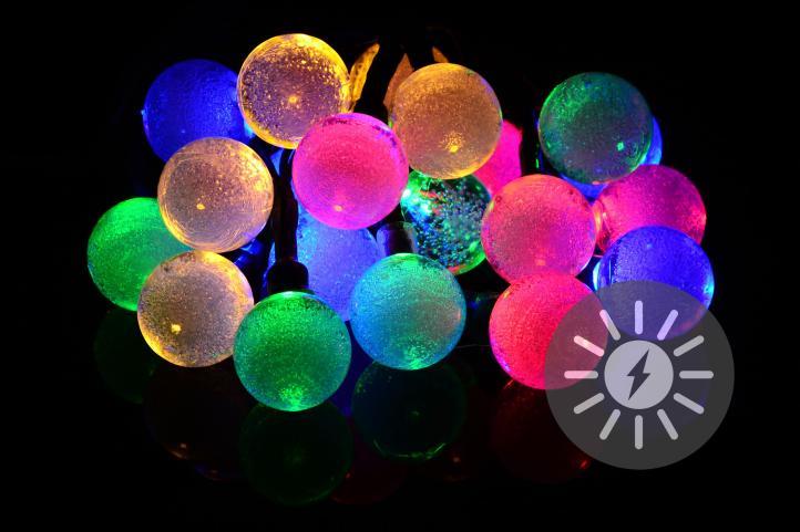 Lampki Solarne 20 Led Kolorowe Kulki