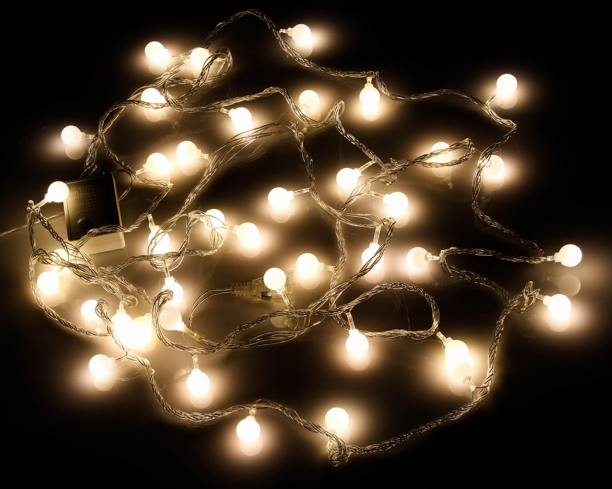 Lampki 40led Ciepła Biel 6m Joylight Ip44 Dekoracyjna Girlanda Kulki Ledowe Do Domu I Ogrodu