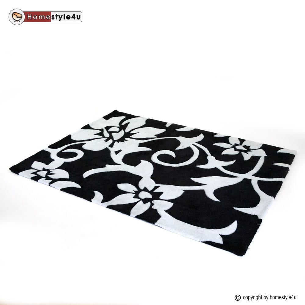 Dywan W Kwiaty 120cm X 170cm Czarno Biały