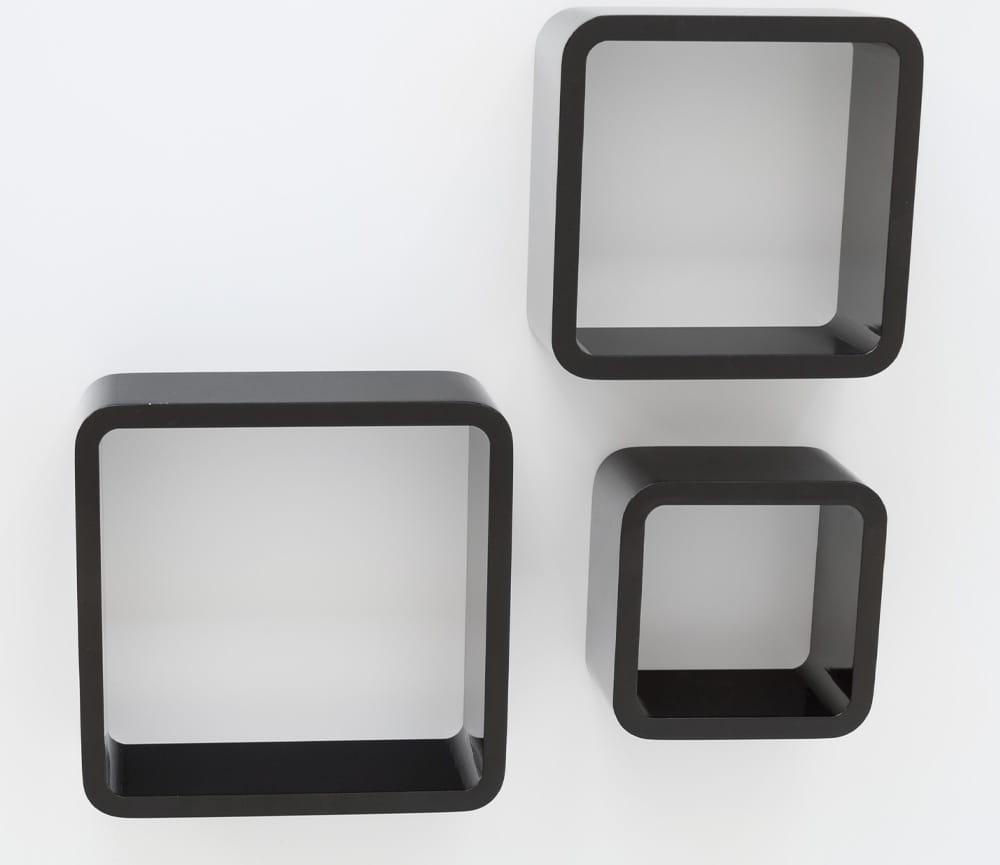 Półki Wiszące Retro Cube Czarne 3 Szt