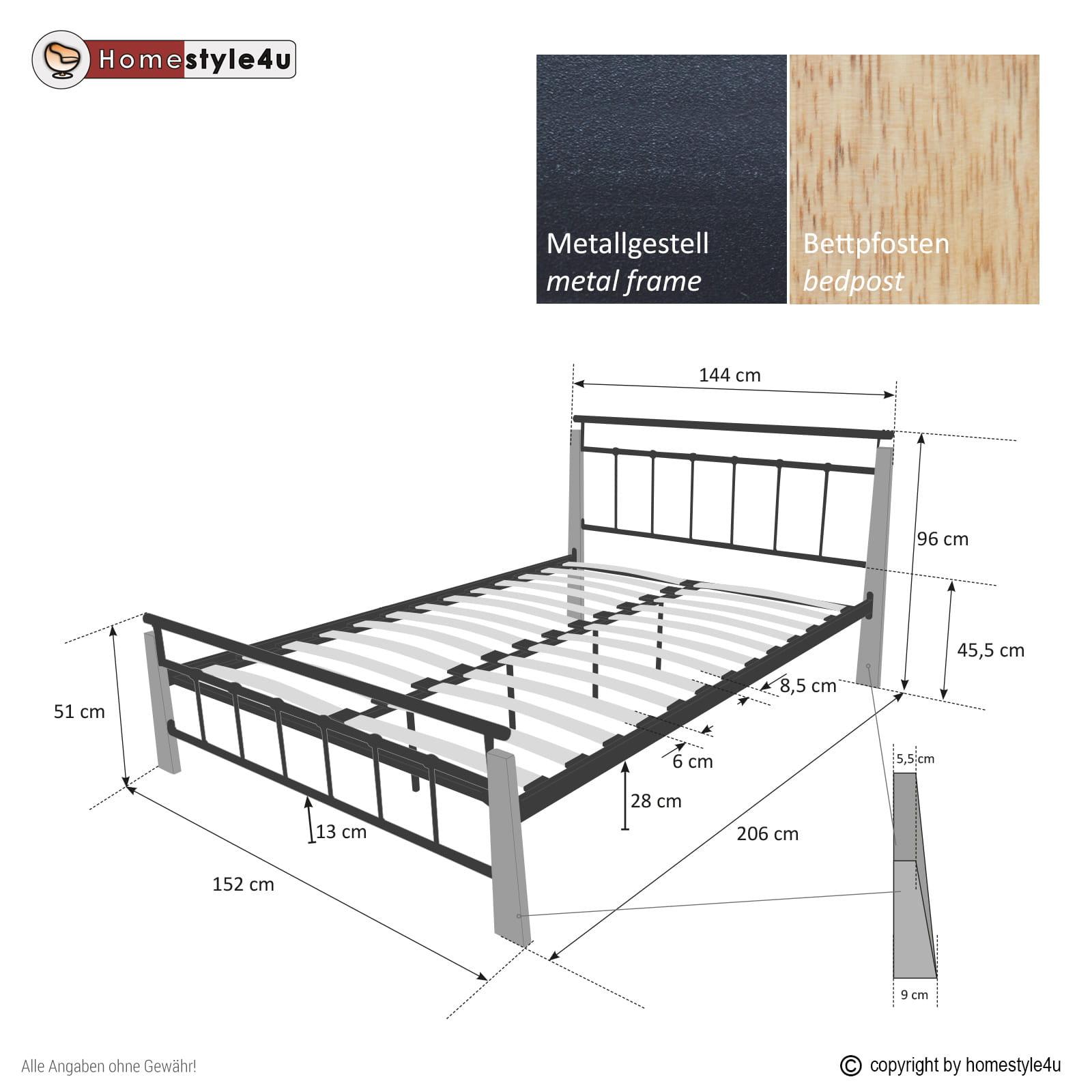 Zupełnie nowe Łóżko metalowe podwójne łóże 140x200cm + stelaż - Sklep ZT41