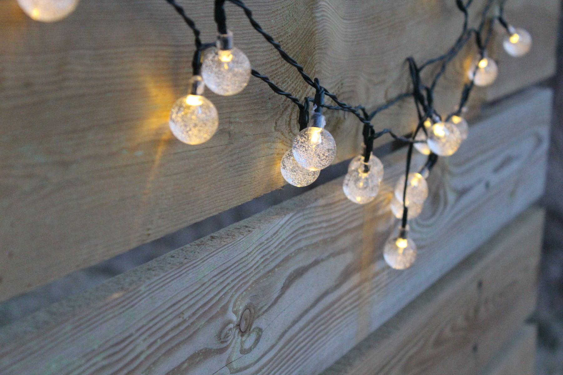 Lampki Solarne 30 Led Joylight Ciepłe Białe W Kształcie Kulek Na Baterie Słoneczne