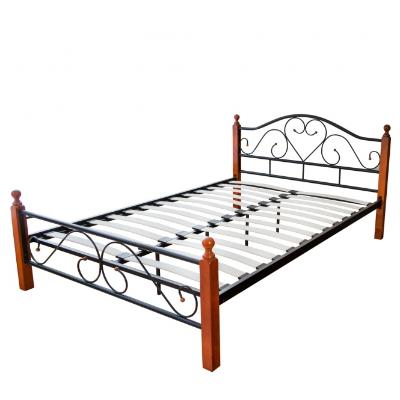 łóżko Metalowe Podwójne 160 X 200 Listwy Drewniane