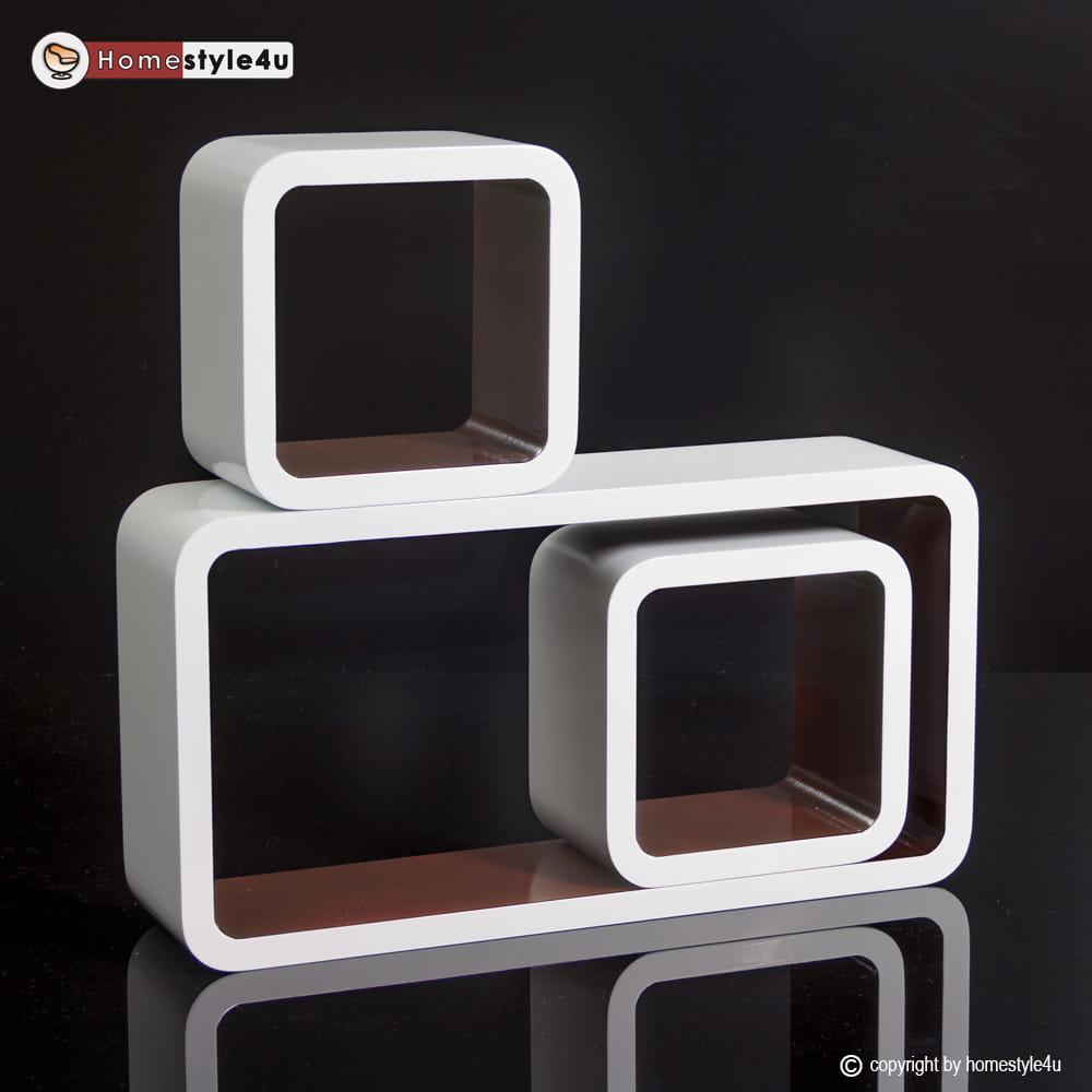 Półki Brązowe Retro Cube 3 Sztuki