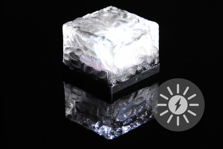 Lampa Solarna Led Mała W Kształcie Kostki Brukowej Zimne Białe
