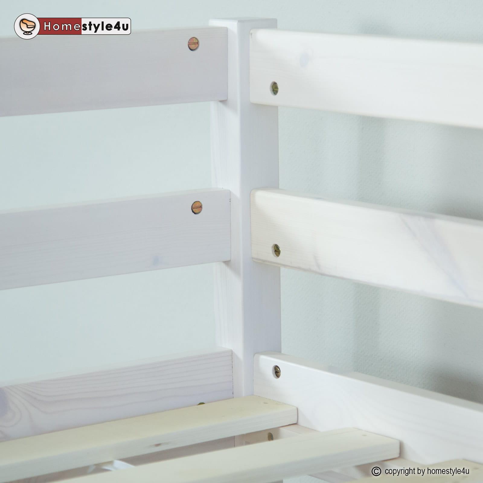 łóżko Dziecięce łóżko Młodzieżowe Piętrowe 90 X 200 Cm Białe Bez Szuflady