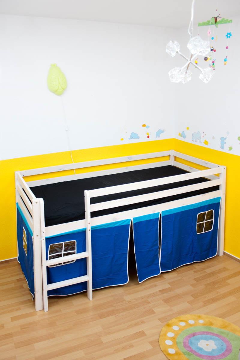 łóżko Piętrowe Niebieskie Kurtyna