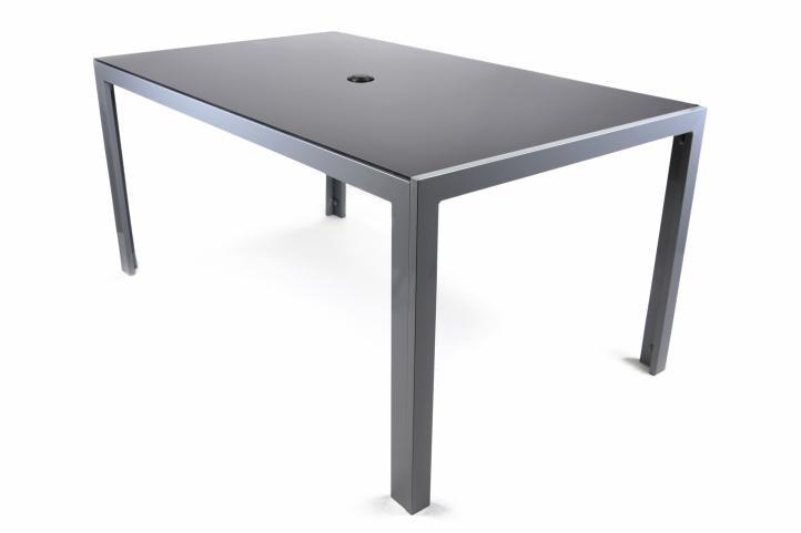 aluminiowy st ogrodowy ze szklan p yt czarny 150 cm sklep internetowy. Black Bedroom Furniture Sets. Home Design Ideas